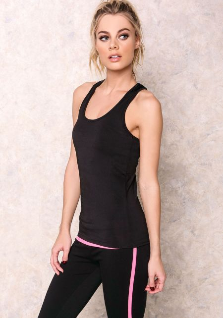 Black Stretch Racer Cut Active Tank