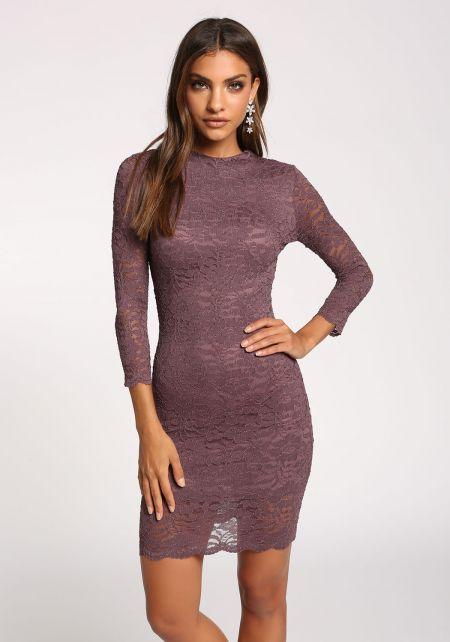 Dark Mauve Lace Bodycon Dress