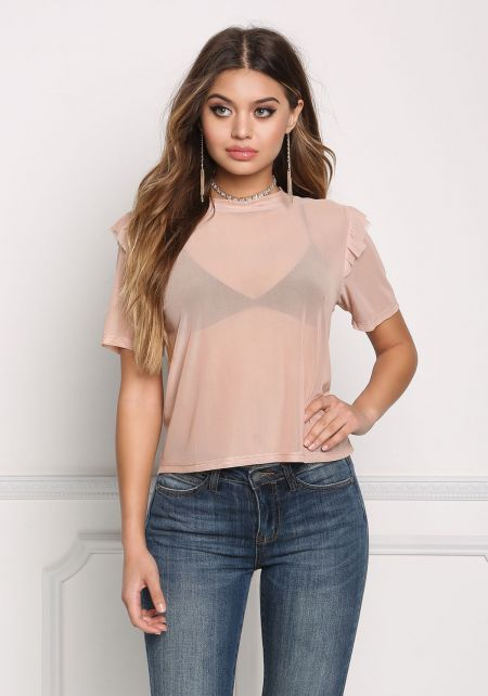 Blush Mesh Ruffle Sleeve Top