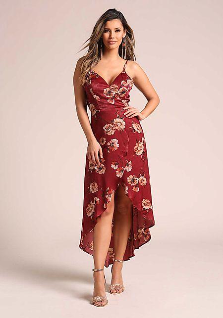 Wine Floral Wrap Hi-Lo Midi Dress