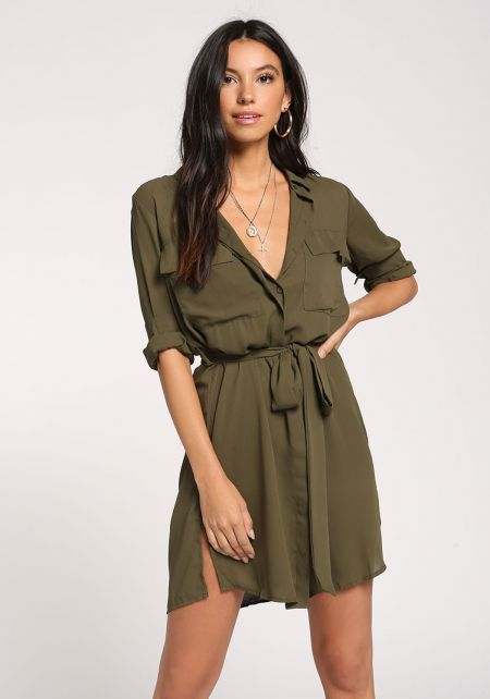 Olive Collared Pocket Waist Tie Dress