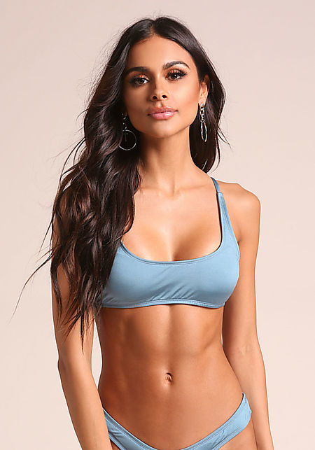 Blue Metallic Swimsuit Bikini Top