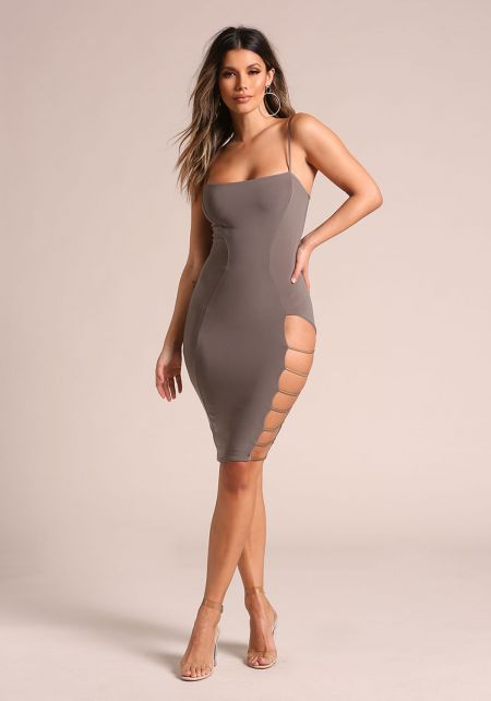 Olive Side Caged Cut Out Bodycon Dress