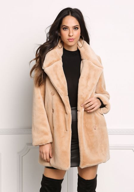 Khaki Faux Fur Double Breasted Coat