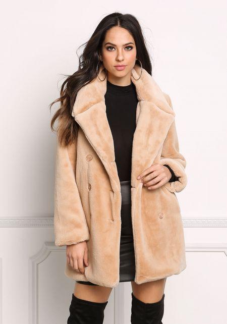 Khaki Faux Fur Double Breasted Coat
