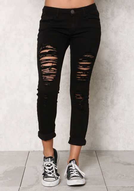 Black Low Rise Slashed Skinny Jeans