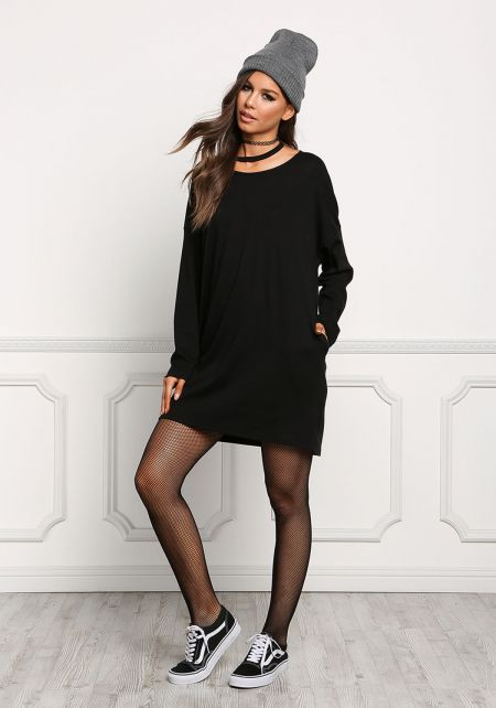 Black Choker Jersey Knit Shift Dress