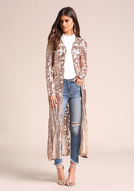 Rose Gold Sequin Brocade Mesh Longlined Cardigan