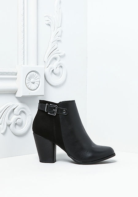 Black Leatherette Ankle Strap Booties