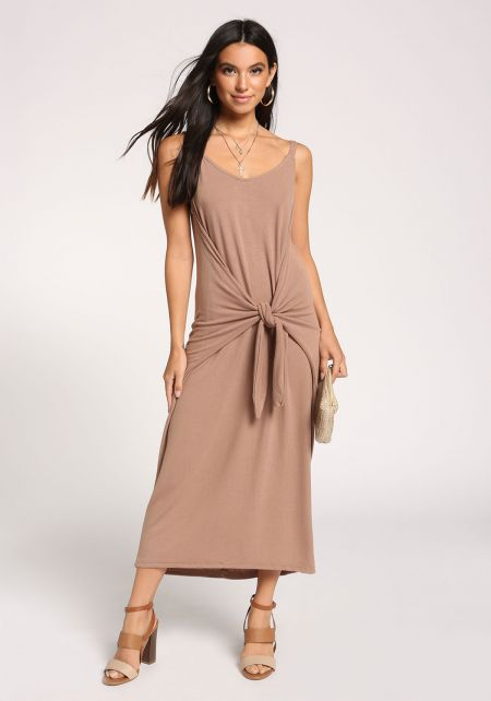 Taupe Tie Front Maxi Dress