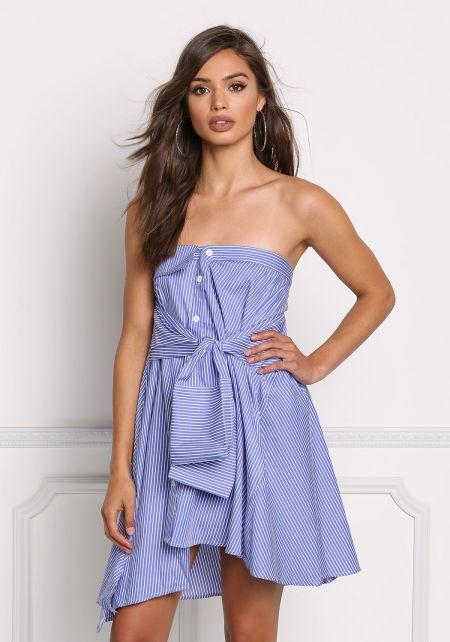 Blue Pinstripe Tied Sleeve Strapless Dress