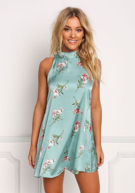 Teal Silky Low Back Floral Shift Dress