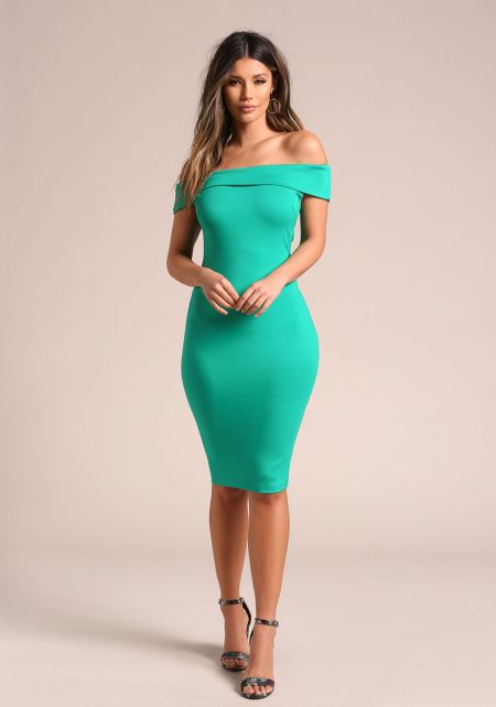 Green Off Shoulder Bodycon Dress
