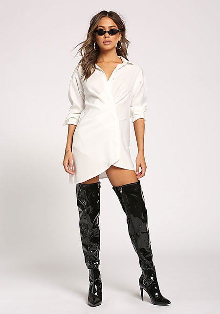 White Gathered Tunic Dress Shirt
