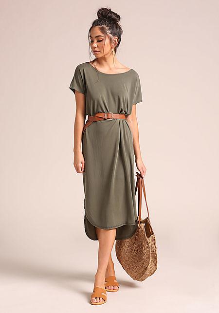 Olive Hi-Lo Shift Midi Dress