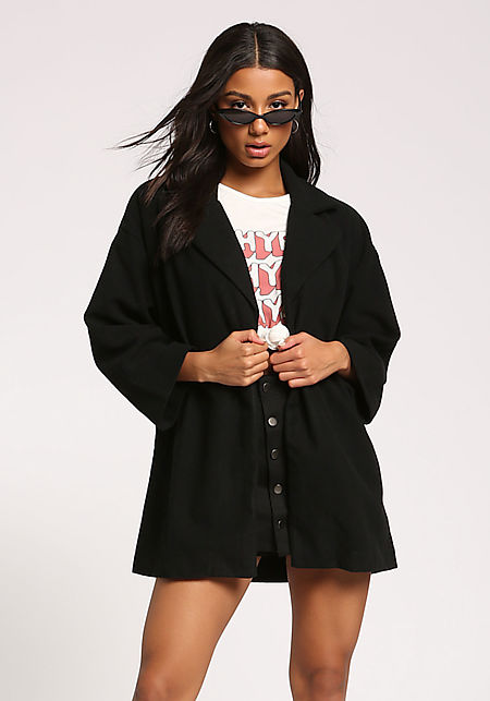 Black Wide Sleeve Felt Coat