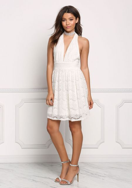 Cream Lace Halter Flare Dress