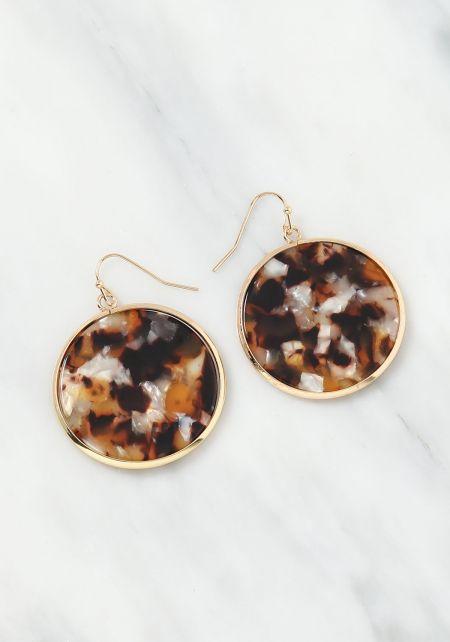 Brown Resin Round Drop Earrings