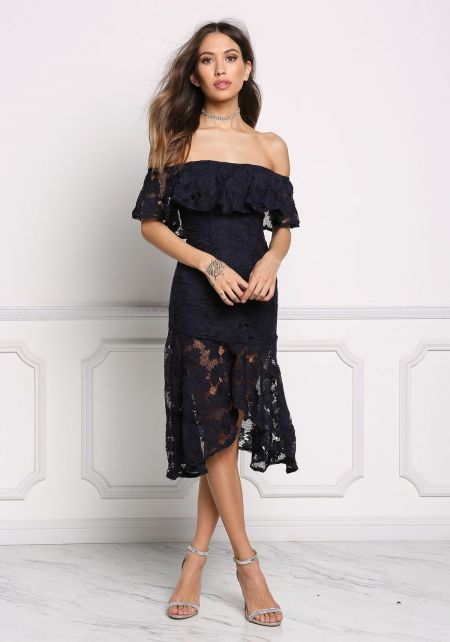 Navy Layered Embroidered Off Shoulder Dress