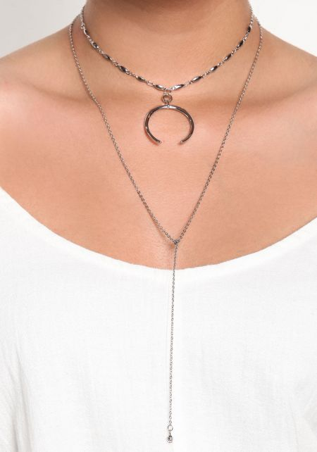 Silver Layered Curved Pendant Necklace
