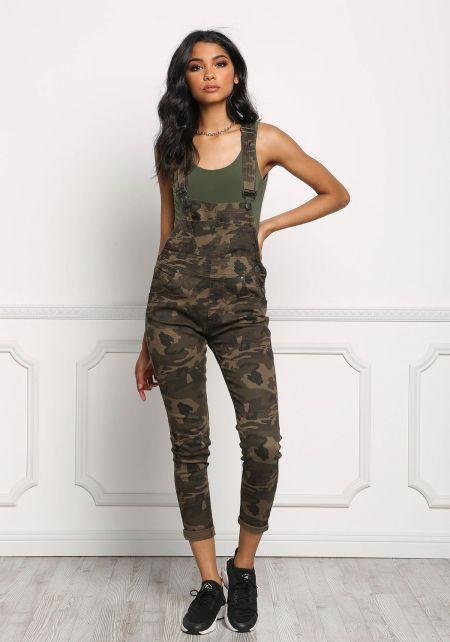 Camouflage Skinny Leg Denim Overalls