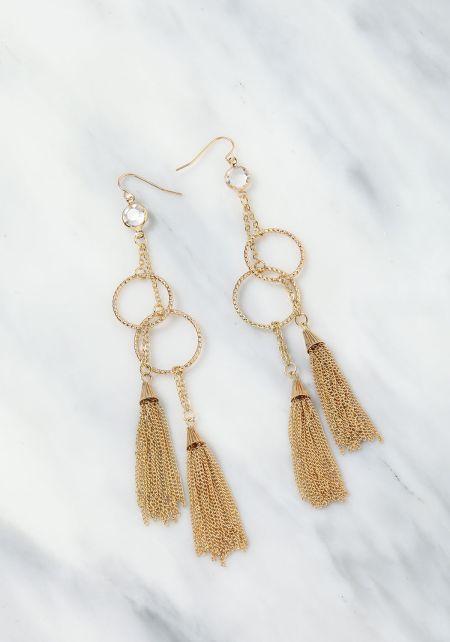 Gold Hoop Tassel Drop Earrings