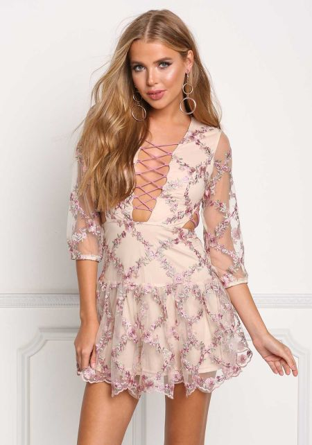Nude Plunge Multi Cross Strap Embroidered Flared D
