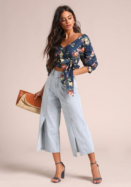 Navy Floral Ruched Sleeve Wrap Crop Top