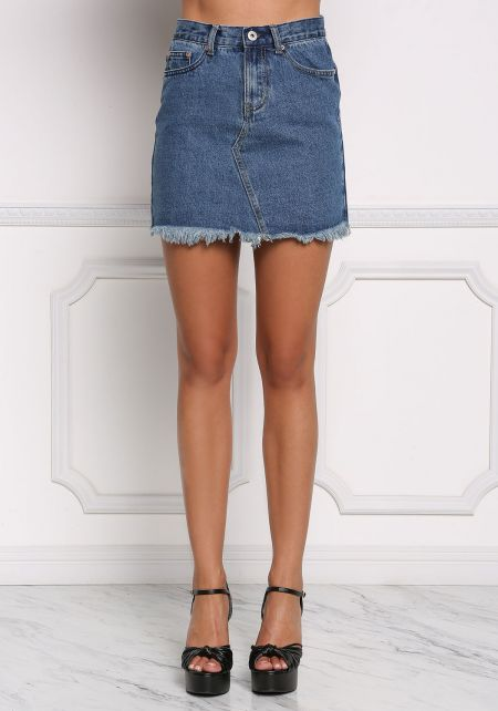 Denim Frayed High Rise Skirt