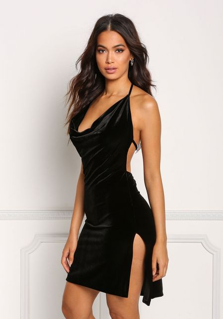 Black Velvet Draped Halter Slit Dress