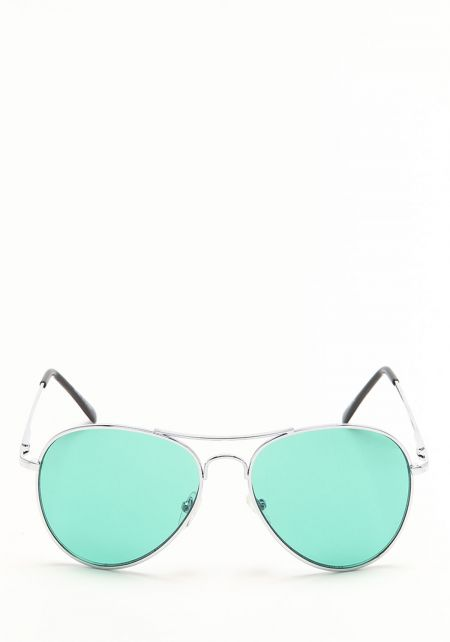 Green Flat Lens Aviator Sunglasses