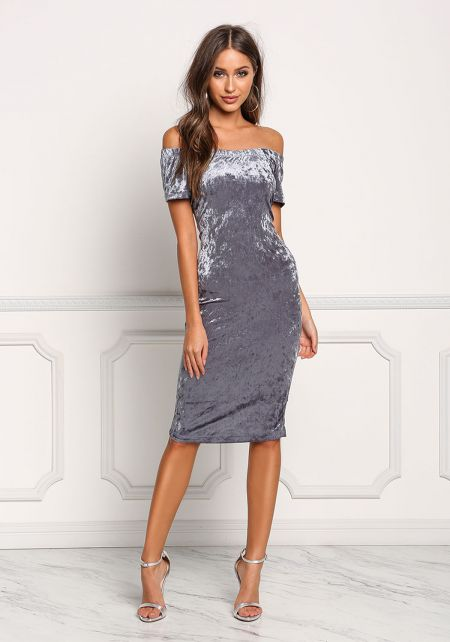 Dusty Blue Off Shoulder Crushed Velvet Bodycon Dre
