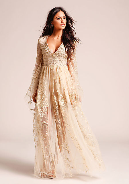 Gold Embroidered Tulle Bell Sleeve Maxi Gown