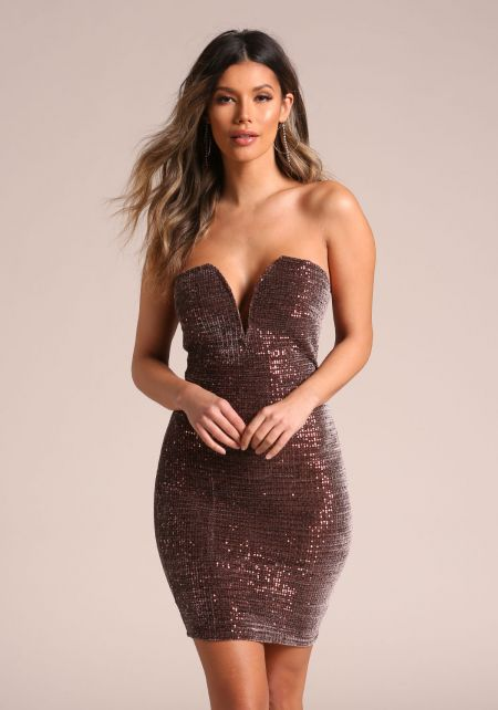 Brown Sequin Sweetheart Bodycon Dress