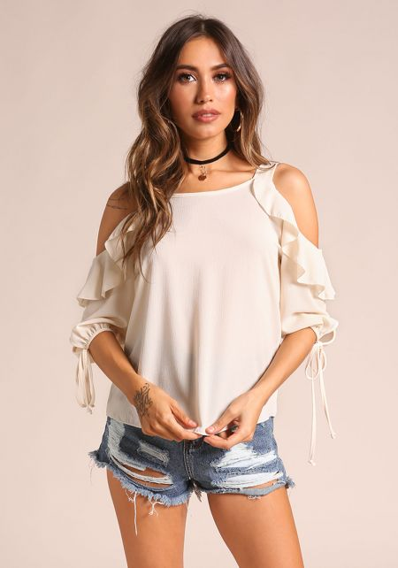 Cream Ruffle Cold Shoulder Blouse with Choker