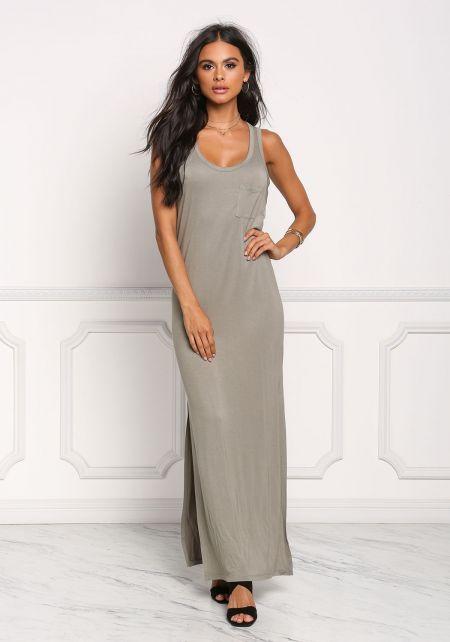 Light Olive Pocket Slit Maxi Dress