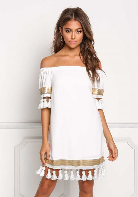 Ivory Off Shoulder Tassel Sequin Shift Dress