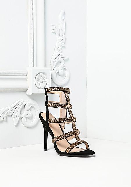 Black Beaded Multi Strap Heels