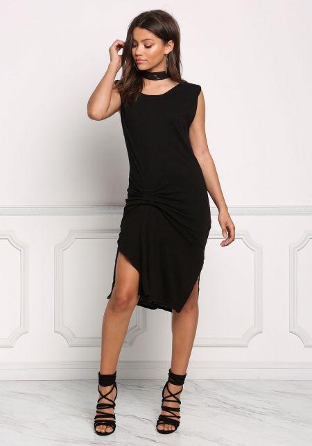 Black Twisted Marled Knit Dress