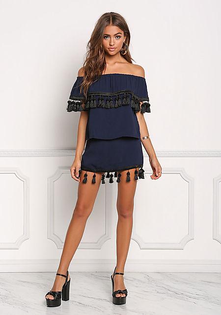 Navy High Rise Tassel Trim Skirt