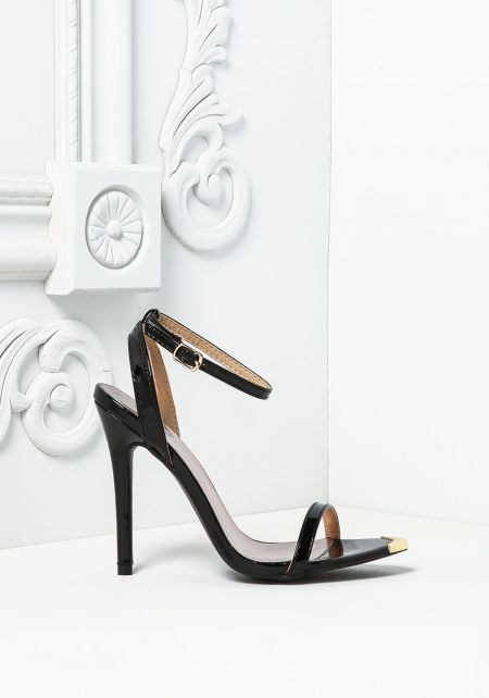 Black Patent Leatherette Pointed Ankle Strap Heels
