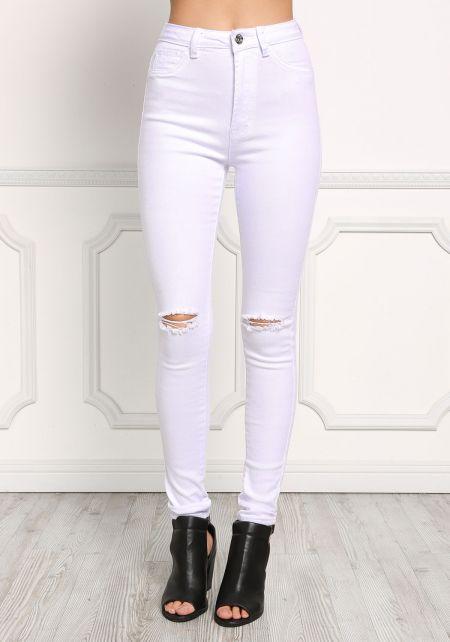 White Mid Rise Knee Slit Skinny Jeans