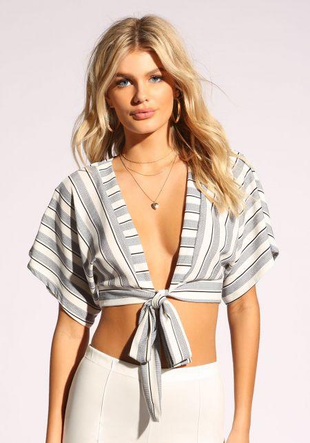 White Stripe Tie Front Crop Top