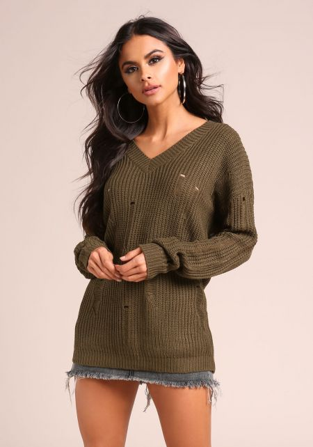 Olive Distressed V Neck Sweater Top