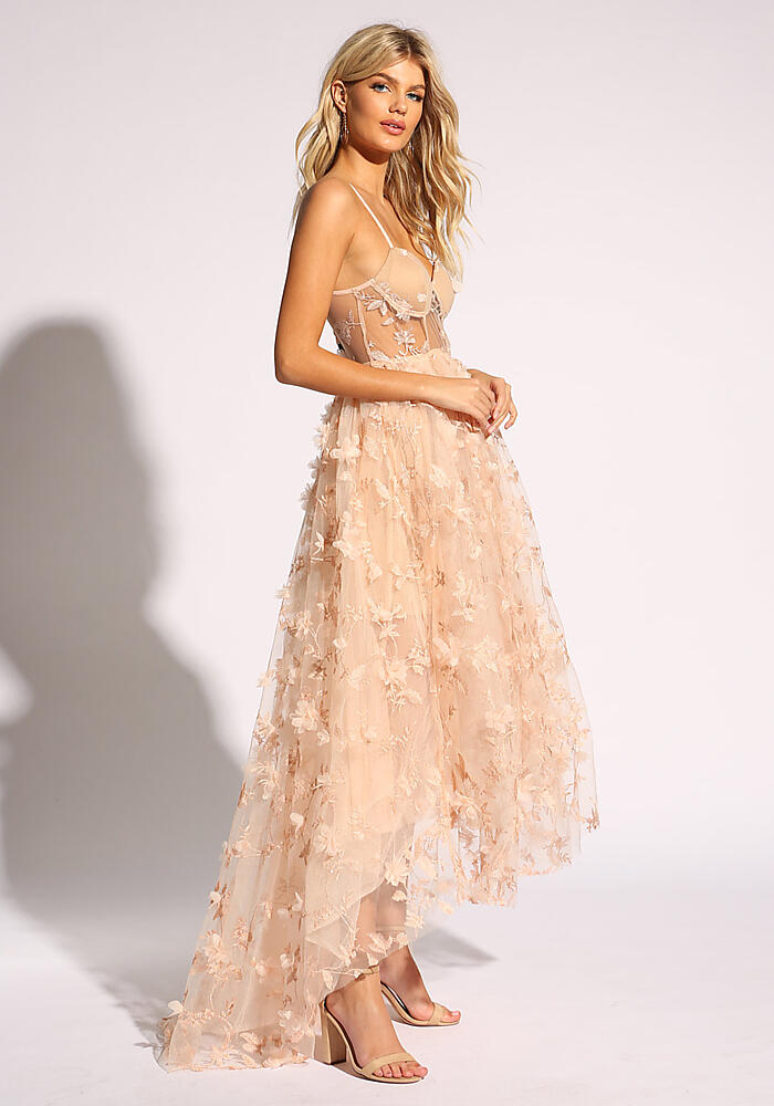 9fa0bba4a55f4 Shoptagr | Blush Floral Applique Tulle Flared Gown by Love Culture