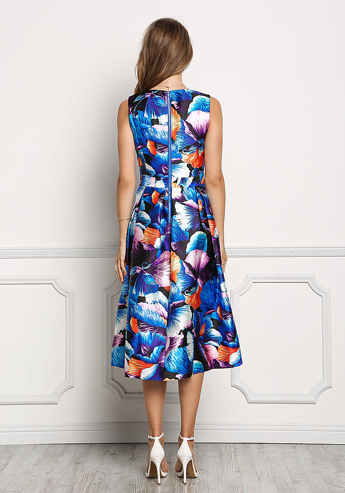 Junior Clothing | Blue Taffeta Floral Print A-Line Midi Dress | Loveculture .com