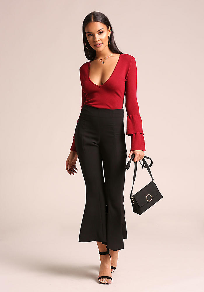 2830a56f5414fd Junior Clothing | Burgundy Tiered Bell Sleeve Crop Top - Clothes |  Loveculture.com