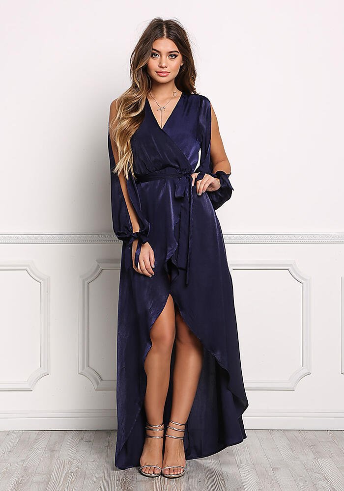 Junior Clothing Navy Slinky Arm Slit Faux Wrap Maxi Romper