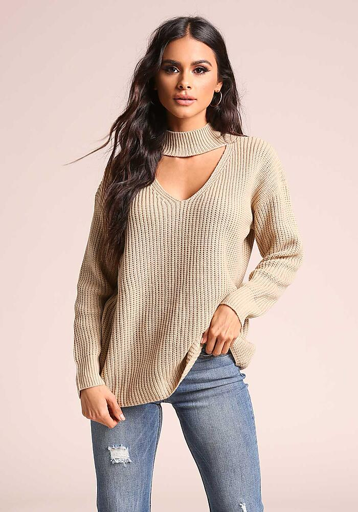 Junior Clothing | Taupe Cut Out Mock Neck Knit Sweater Top | Loveculture.com | Tuggl