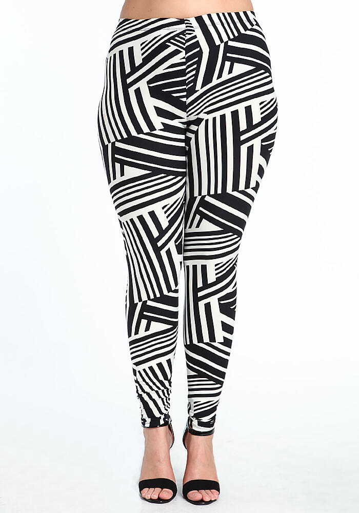 Junior Clothing | Plus Size Directional Stripe Leggings | Loveculture.com
